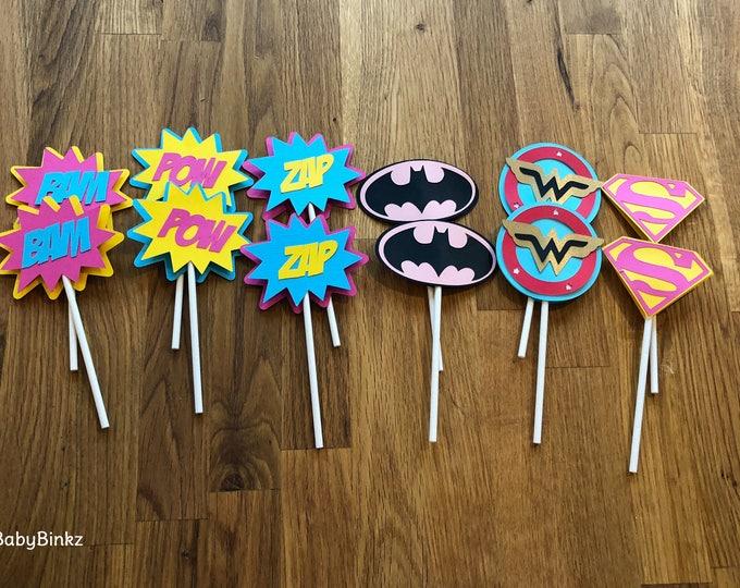 Die Cut Girl Super Hero Logo Cupcake Toppers - superhero wonder woman supergirl batgirl female comic birthday party decorations wedding
