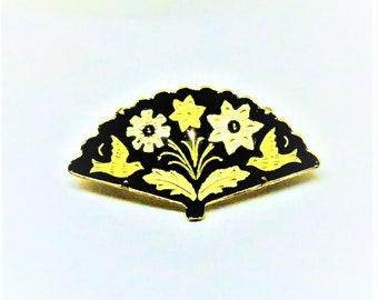 Damascene Brooch - Vintage, Gold Tone, Black Enamel, Floral Pin