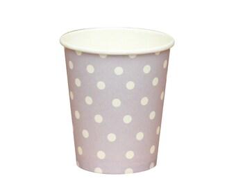 10 Purple Polka Dot Cups Purple Paper Cups Purple Baby Shower Cups lavender Party Cups Purple Wedding Cups Favors Princess Sofia Party Cups