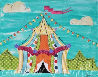 Children's Wall Art Print 8x10- circus, tent, carnival, Kids Art, Nursery Art, kids room art, nursery decor