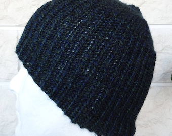 Hand Knitted Men's Black Watch Aran Ribbed Winter Hat - Free Shipping