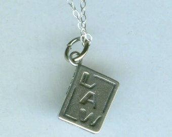 Sterling LAW BOOK Pendant  and Chain - Profession, Attorney, Judge, Legal, Secretary, Court - 2 Sided