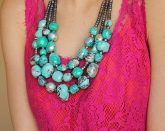 Turquoise Amazonite Stone Statement Necklace / Aqua Stone Necklace / Amazonite Beads Necklace / Chunky Layered Necklace / Lucite Green