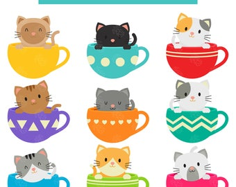 Kitties Inside Cups, Cute Kittens, Morning Coffee Cups With Cats Digital Clip Art For Planner Stickers, Scrapbooking, Journal, Art Pieces