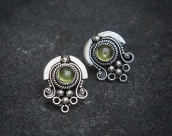 Peridot and Sterling Silver Detail Stud Earrings