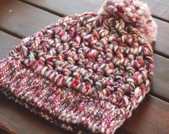 Chunky Winter Hat with Big PomPom | Handspun Merino Yarn | Crochet Beanie | Knit Hat | Art Yarn | Thick and Thin Wool | Pink Orange White