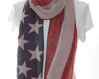 American flag print pattern Scarf shawl, Beach Wrap, Cowl Scarf, American flag print scarf, cotton scarf, gifts for her