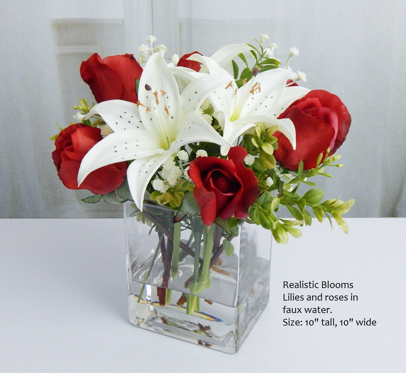 Red white silk roseroses lilylilies glass vase faux water red white silk roseroses lilylilies glass vase faux water acrylic real touch flowers floral arrangement centerpiece decor gift izmirmasajfo Image collections