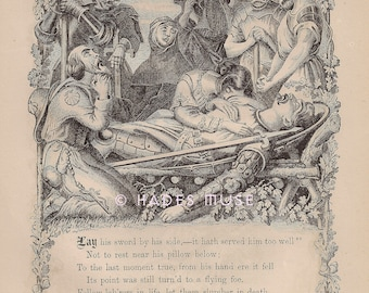 Tapfere Ritter liegt tot-1872 Antik Vintage Art PRINT-Gothic-Goth-Medieval Tod Gedicht-Lyrik-Schwert-starb In der Schlacht-Trauer-Grab-Gravur