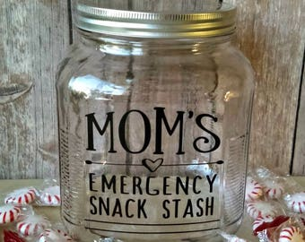 Glass Snack Jar, Gift for Her, Mother's Day Gift, Emergency Snack Stash, Gift for Mom, Candy Jar, Cookie Jar