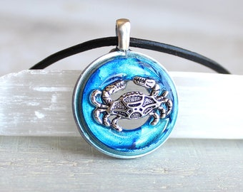 sky blue crab necklace, crab jewelry, nature necklace, beach jewelry, cancer necklace, june birthday, july birthday, birthday present