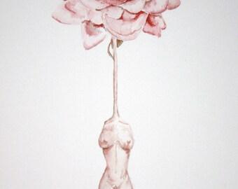 "15"" x 22"" Gorgeous contemporary watercolor ""Fertility Flower"""