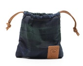 Waxed Canvas Golf Valuables Field Pouch in Black Watch Tartan personalized monogrammed