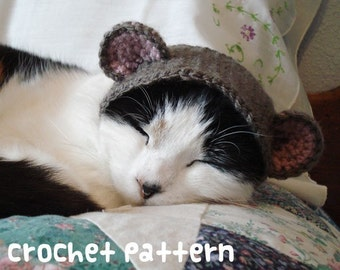 CROCHET PATTERN - Pet Hat Costume - PDF Instant Download - Teddy Bear Cat - Cute Halloween Disguise