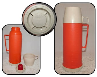 Vintage Bright Orange Tall Pint Size Hot Cold Thermos, lunch, picnic