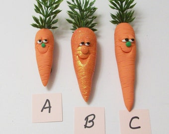 Carrot magnet with a cute face: polymer clay carrot magnets