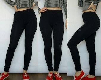Long Black Leggings, Solid Color Yoga Leggings, Footless Womens Tights, Jersey Pants, Custom Personalized Legging, Gift For Women
