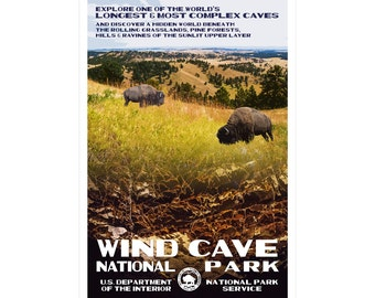 "Wind Cave National Park WPA-style poster. Color. 13"" x 19""  Original artwork, signed by the artist!"