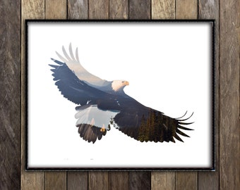 Bald Eagle Print - Forest Animal Poster - Double Exposure Art - Rustic Woodland Nature Photography - Americana Art Cabin Cottage Decor