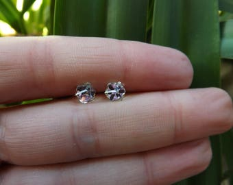 """4 mm Swarovski Cube earrings """"Crystal stained Light"""" and silver 925"""