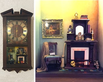 Witch's miniature dollhouse, parlor, made from a vintage wall clock, lights up! Room box, night light, artisan, 1:12 1/12