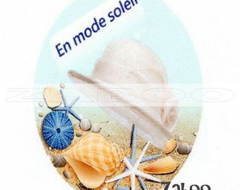 1 cabochon 30mm x 40mm glass, holiday hat and shells