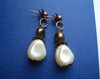 Faux pearl and bronze drop earrings