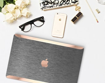 Macbook Pro 13 Case Macbook Air Case Laptop Case Macbook Decal Brushed Steel  Case and Rose Gold Chrome Edge Detailing