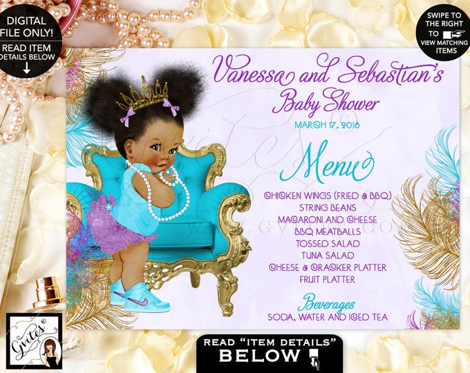 """Baby Shower Menu Cards, Turquoise, Gold, Purple and Lavender,  Princess African American,. Menus Baby, Table Decor, DIGITAL 7x5"""" or 6x4"""""""