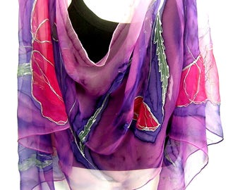 Hand Painted Silk Scarf, Poppies, Purple Pink Red, Floral Silk Chiffon Scarf, Handpainted Silk Scarf, Gift For Her