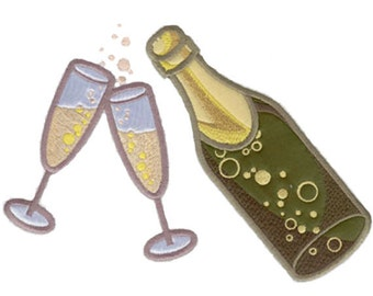 Champagne Bottle with Glasses Applique Machine Embroidery Design - Celebrate, Celebration, Celebratory Embroidery  Design