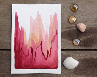 Pink Abstract Painting, Original art 5x7, Pink and Gold Art, Small Acrylic painting, Pink Ombré Art, Original Abstract Art, Pink Wall Decor