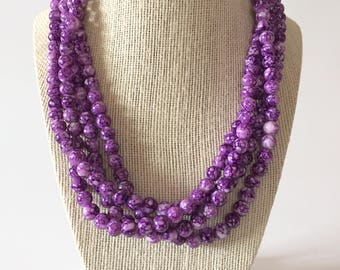 Purple Marble Chunky Statement Necklace