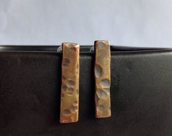 Hammered Bronze Bar Earrings