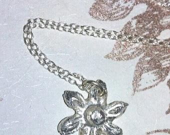 Handmade silver flower necklace - FREE UK SHIP
