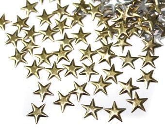 Gold Stars Iron On Studs Rivets Nailheads,  Gold hot fix Stars Embellishments