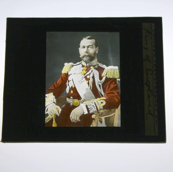 Antique King George V of England Glass Magic Lantern Slide, Color Photo