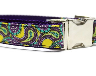Purple and Yellow Paisley Dog Collar with Metal Buckle | Paisley Dog Collar | Unique Dog Collar | Liberty of London Fabric Dog Collar