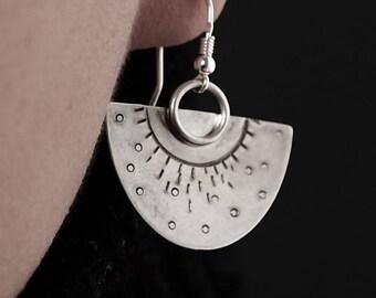 Fan Earrings, half round, unique statement hand made sterling earrings, half moon, chandelier earrings, sun motif, hoop tribal earrings