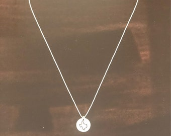 Texas Handstamped Sterling Silver Necklace