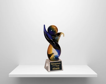 Glass Art Personalized Recoginition Award- Twisted Body Design