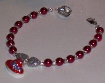 Red Hat Ladies Bracelet, with 2 Silver Sparkly Hearts. Free Shipping
