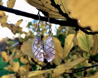 Amethyst crystal point earrings, pale purple crystal jewelry, silver wire wrapped, elesyn gaea, boho rave dangle earrings.