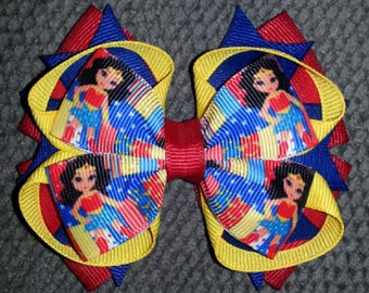 Wonder Woman Handmade Stacked Boutique Bow