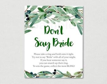 Green Floral Don't Say Bride Game / Floral Bridal Shower / Olive Floral / Watercolor / Bridal Ring Game / INSTANT DOWNLOAD B120
