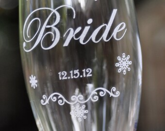 Winter Wedding Champagne Glasses 2 Glass Set with Snowflakes on Crystal Flutes