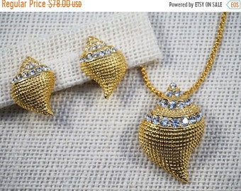 30% Off SALE Kenneth Jay Lane KJL Gold Tone and Rhinestone Sea Shell Pendant Necklace Brooch with Earrings Set