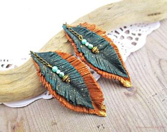 Long leaf leather earrings, feathers earrings, long boho earrings, earrings, teal blue earrings, brown earrings, emerald green earrings,