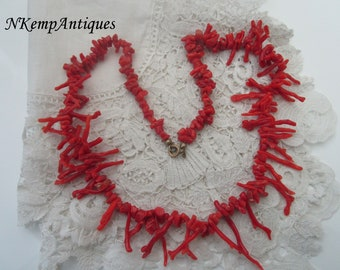 Antique coral necklace real coral 1910