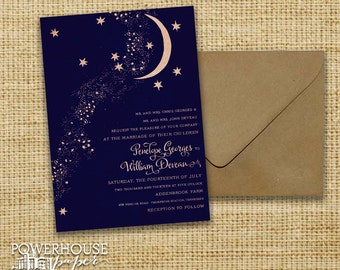 Rustic Kraft Moon & Stars Wedding Invitation